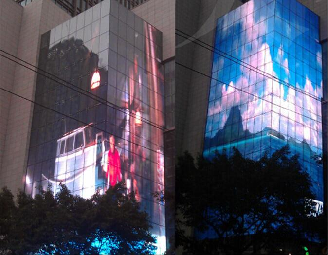Transparent LED Light Media Displays Full Color Wind Resistance DIP346
