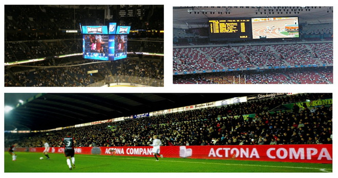 P10 Aluminum Cabinet Perimeter Advertising Stadium LED Display Panel , P20 Full colors Large Curved Monitor Wide View