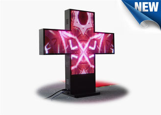 Asynchronous Control Cross Programmable LED Sign , 2 Side 3D LED Video Display Panels