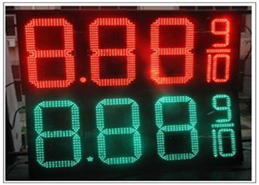 China 20'' Red / green color LED Gas Station Sign for Fuel advertising Petrol , 8000nits Brightness distributor